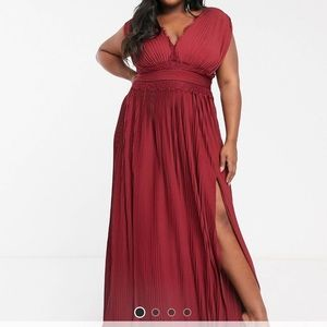 ASOS curve pleated maxi gown dress black tie
